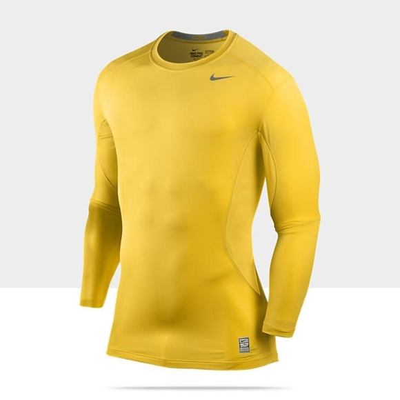 3fb86aa2cecf NIKE PRO CORE LONG SLEEVE TIGHT CREW - GOLD SHIRT.  M 5bb38bbd819e90bd558b8e91